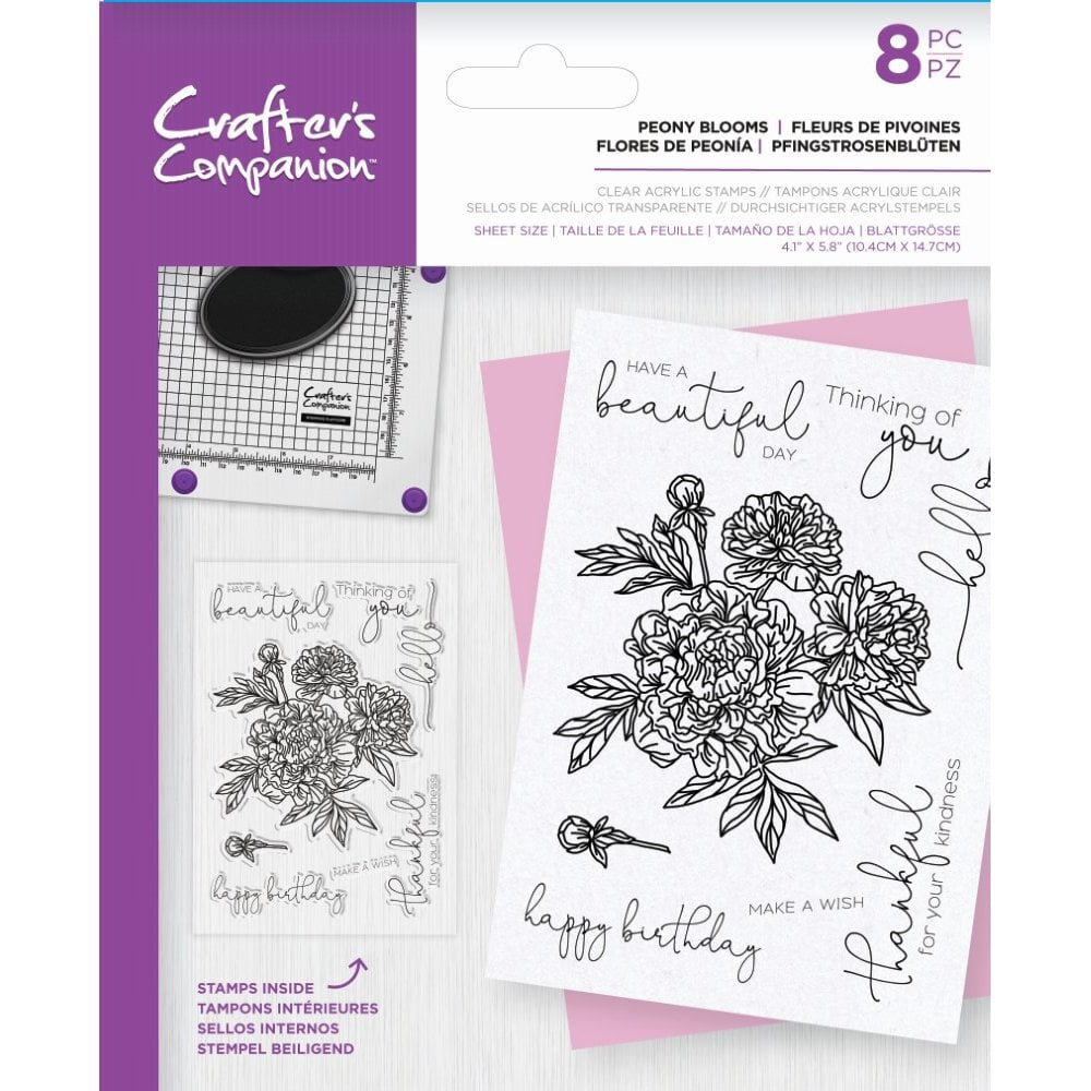 Crafter's Companion Floral Decoupage Clear Acrylic Stamps – Peony Blooms
