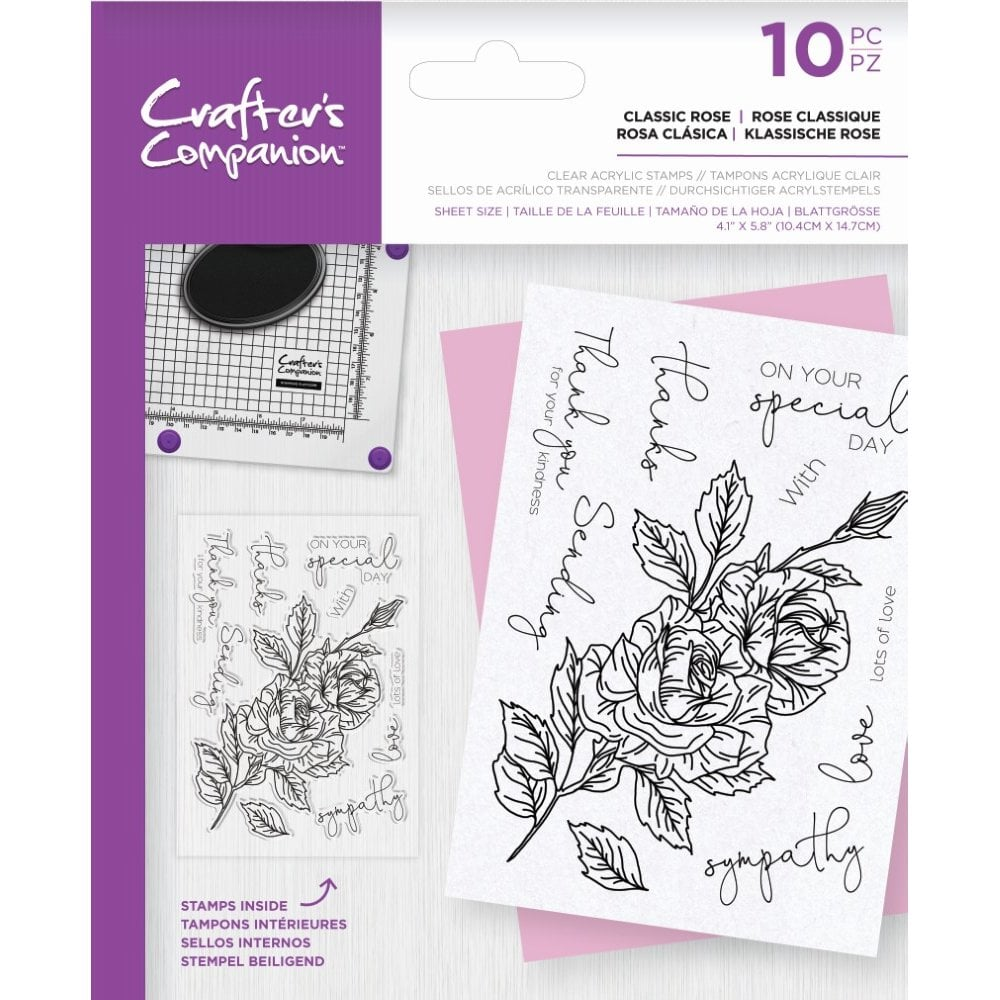 Crafter's Companion Floral Decoupage Clear Acrylic Stamps – Classic Rose
