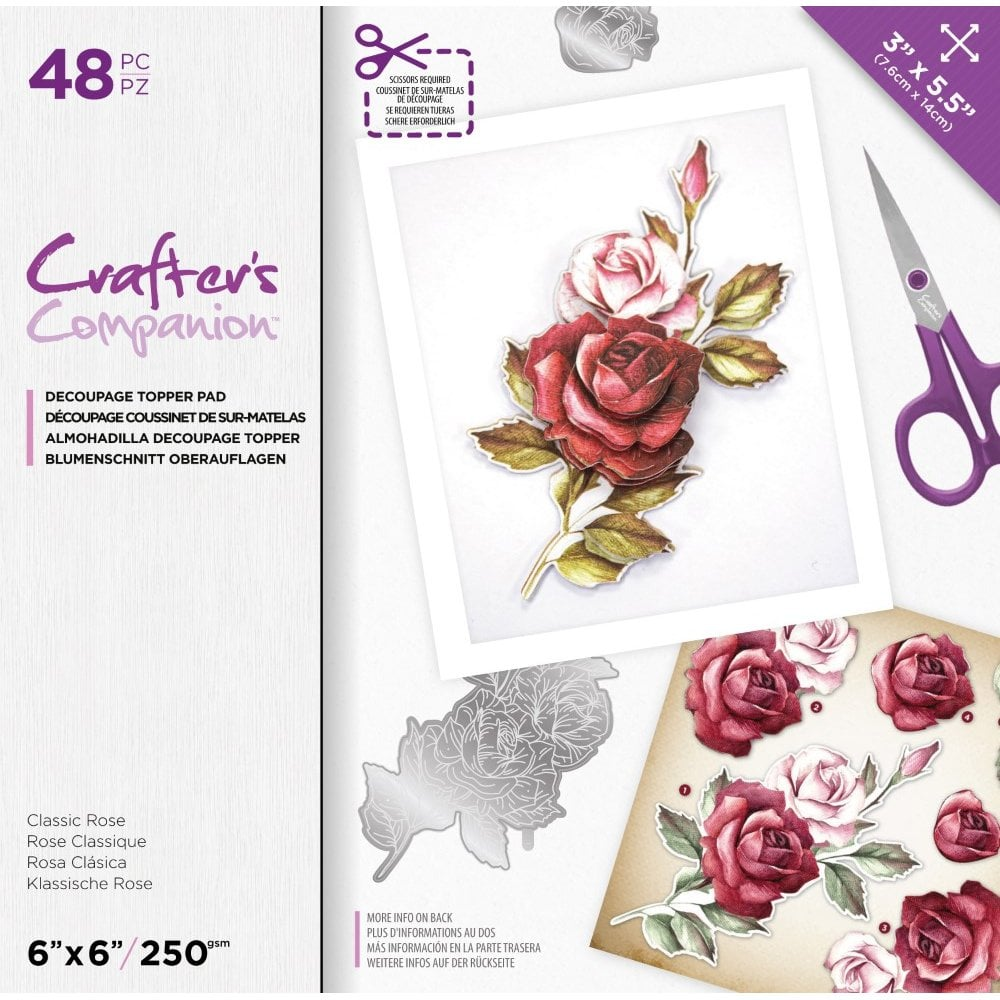 Crafter's Companion Floral Decoupage Topper Pad – Classic Rose