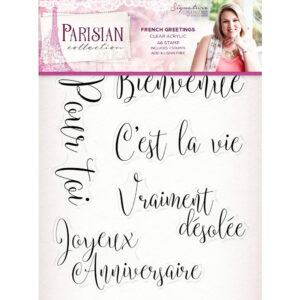 Sara Signature Parisian Acrylic Stamp – French Greetings S-PAR-ST-FRGR