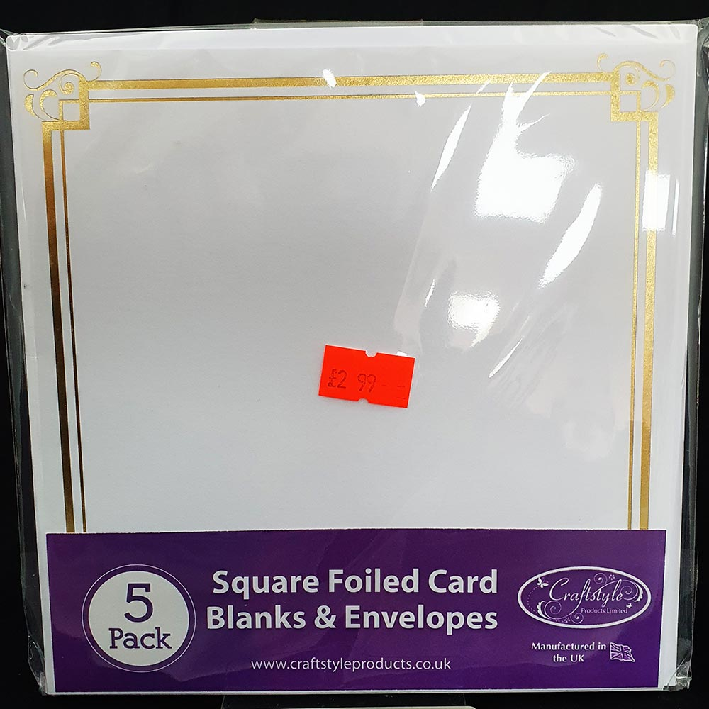 """Craftstyle 6"""" x 6"""" Card & Envelopes Foiled White/Gold"""