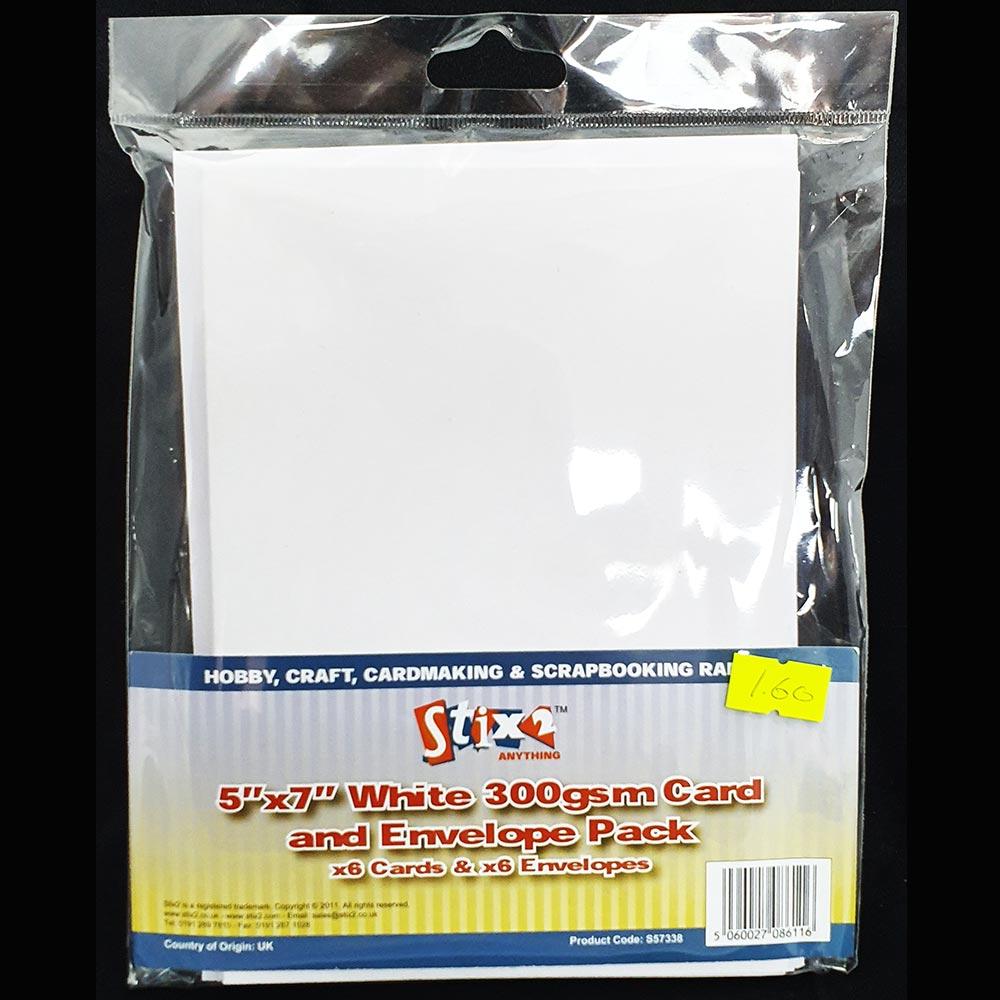"Stix2 5"" x 7"" Card & Envelopes White"