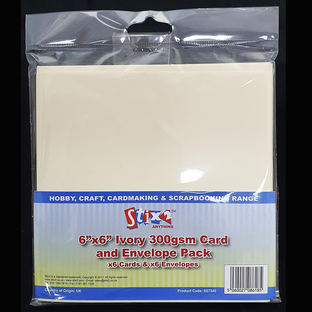 "Stix2 6"" x 6"" Card & Envelopes Cream"